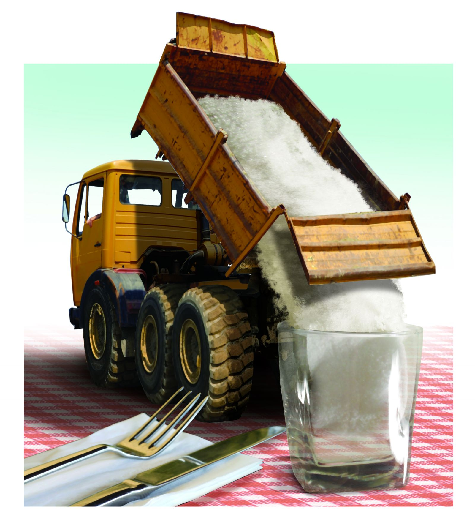 Illustration of miniature salt truck pouring salt into water glass